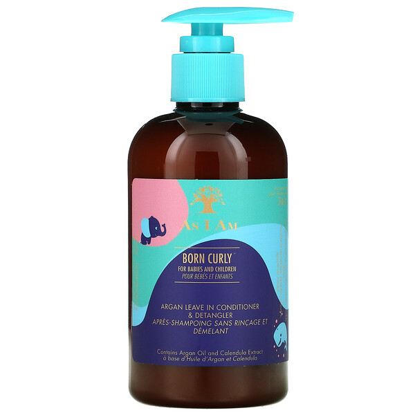 As I Am, Born Curly, Argan Leave In Conditioner & Detangler, For Babies and Children, 8 fl oz (240 ml)
