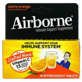 AirBorne, Immune Support Supplement, Zesty Orange, 10 Effervescent Tablets