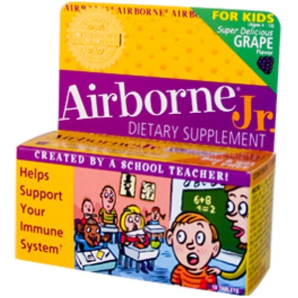 AirBorne, Jr., Effervescent Health Formula, Grape Flavor, 1 Tube, 10 Tablets (Discontinued Item)