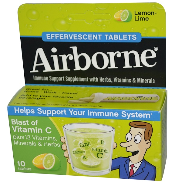 AirBorne, Effervescent Tablets, Lemon-Lime, 10 Tablets