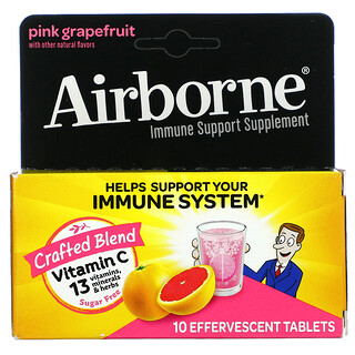 AirBorne, Immune Support Supplement, Pink Grapefruit, 10 Effervescent Tablets