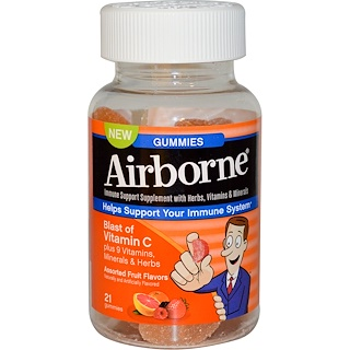AirBorne, Blast of Vitamin C, Assorted Fruit Flavors, 21 Gummies
