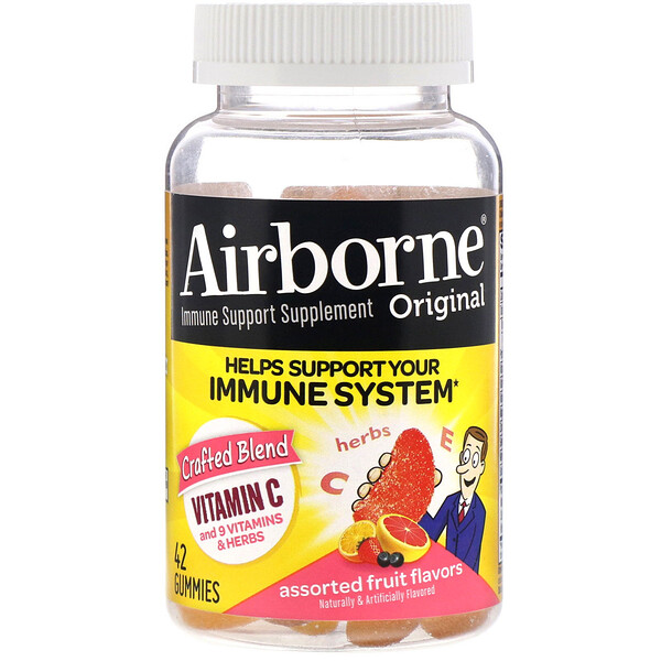 AirBorne, Original Immune Support Supplement, Assorted Fruit Flavors, 42 Gummies