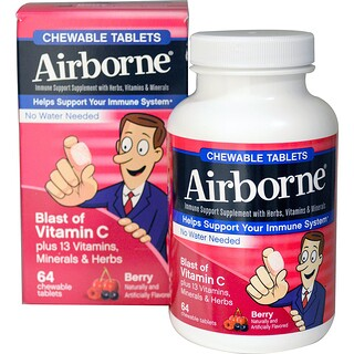 AirBorne, Blast of Vitamin C, Berry, 64 Chewable Tablets