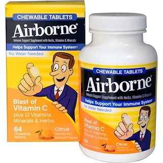 AirBorne, Blast of Vitamin C, Citrus, 64 Chewable Tablets