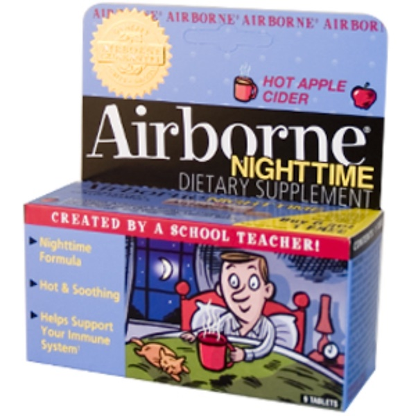 AirBorne, Nighttime, Effervescent Health Formula, Hot Apple Cider, 1 Tube, 9 Tablets (Discontinued Item)