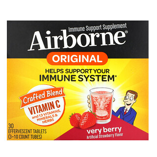 AirBorne, Immune Support Supplement, Very Berry, 3 Tubes, 10 Effervescent Tablets Each