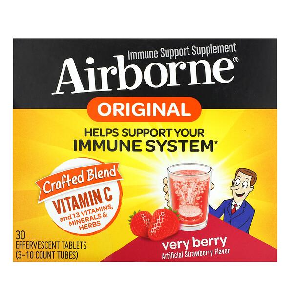 AirBorne, 機體抵抗支持補充劑,莓果,3 管,每管 10 片泡騰片