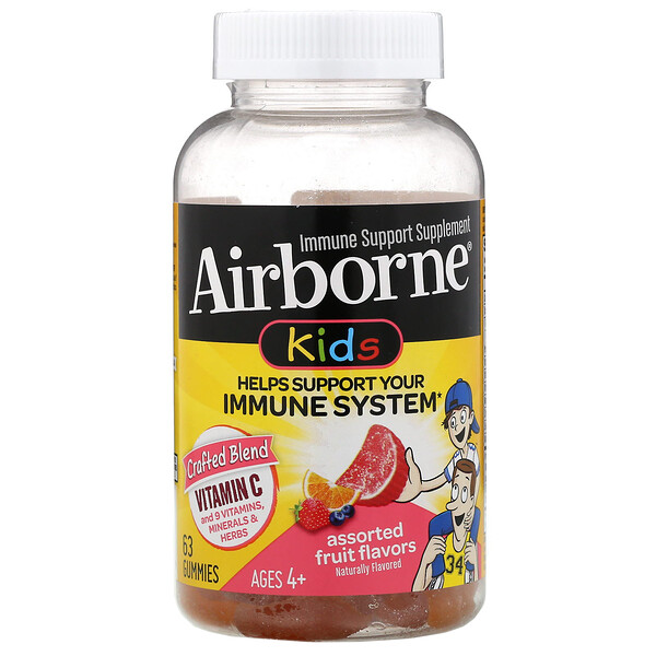 AirBorne, Kids, Immune Support Supplement, Ages 4+, Assorted Fruit Flavors, 63 Gummies