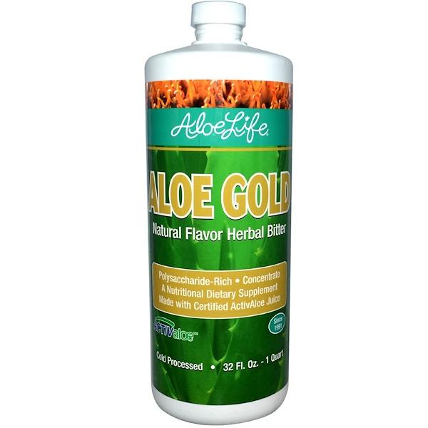 Aloe Life International, Inc, 金蘆薈,天然草本苦味飲品,32液盎司(1夸脫)