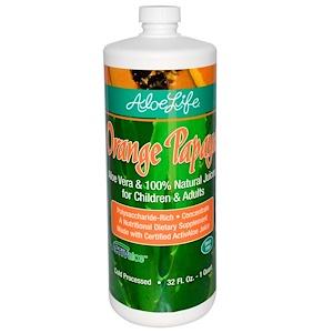 Aloe Life International, Inc, Алоэ Вера и 100% натуральные соки для детей и взрослых, апельсин и папайя, 32 жидких унции (1 кварта)
