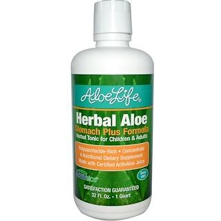 Aloe Life International, Inc, ハーバル・アロエ、ストマック・プラス・フォーミュラ、 32液量オンス (1クォート、約960ml)