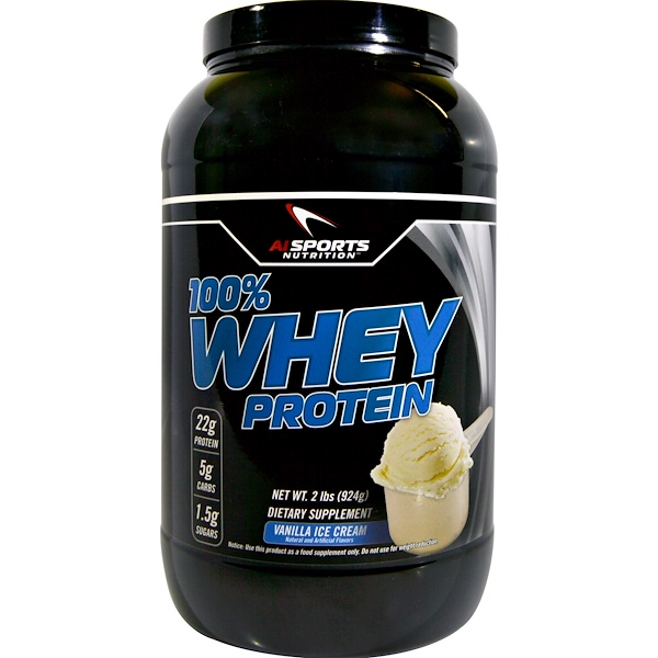 AI Sports Nutrition, 100% Proteína de suero, Helado de vainilla, 924 g (2 lb) (Discontinued Item)