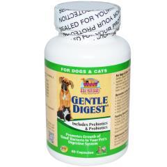 Ark Naturals, Gentle Digest, Includes Prebiotics & Probiotics, For Dogs & Cats,  60 Capsules