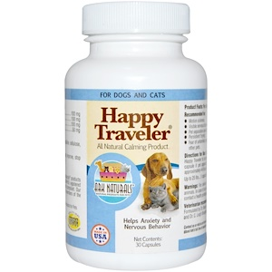 Арк Натуралс, Happy Traveler, All Natural Calming Product, For Dogs & Cats, 30 Capsules отзывы покупателей