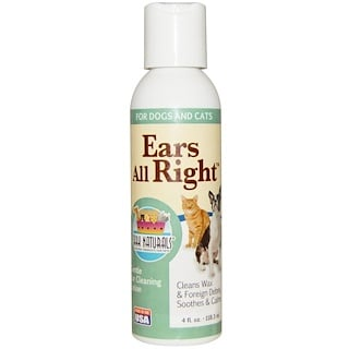 Ark Naturals, Ears All Right, Gentle Ear Cleaning Lotion, For Dogs & Cats, 4 fl oz (118.3 ml)