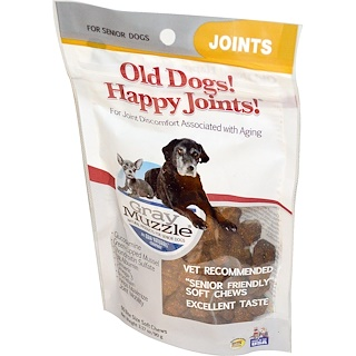 Ark Naturals, Bozal gris, Old Dogs! Articulaciones felices para perros adultos, 90 masticables blandos de tamaño de mordedura, 90 g (3,17 oz)