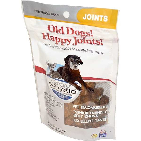 Ark Naturals, Old Dogs! Happy Joints!, Gray Muzzle, Joints, For Senior Dogs, 90 Bite Size Soft Chews, 3.17 oz (90 g)