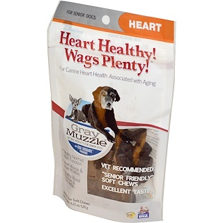 Ark Naturals, Heart Healthy! Wags Plenty!, Gray Muzzle, Heart, For Senior Dogs, 60 Bite Size Soft Chews, 4.23 oz (120 g)