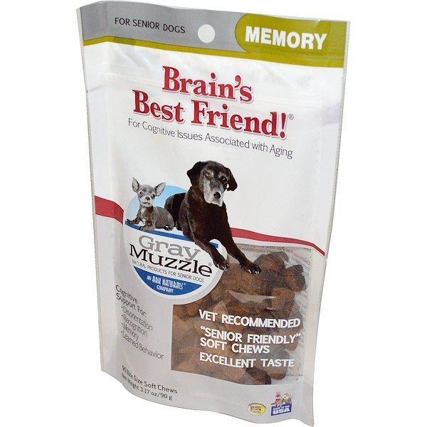 Ark Naturals, Gray Muzzle, Brains Best Friend!, Memory for Senior Dogs, 90 Bite Size Soft Chews, 3.17 oz (90 g) (Discontinued Item)
