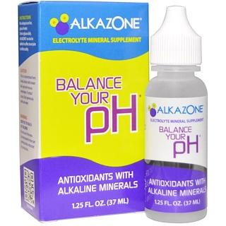Alkazone, pH의 균형을 잡으세요, 알칼리 미네랄와 항산화제(Antioxidants with Alkaline Minerals), 1.25 fl oz (37 ml)