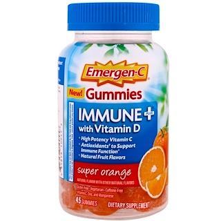 Emergen-C, Immune Plus with Vitamin D Gummies, Super Orange, 45 Gummies