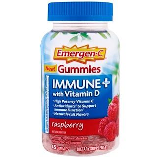 Emergen-C, Immune Plus with Vitamin D Gummies, Raspberry, 45 Gummies