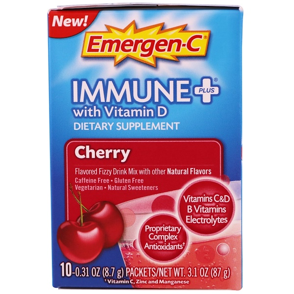 Emergen-C, Immune Plus with Vitamin D, Cherry, 10 Packets, 0.31 oz (8.7 g) Each (Discontinued Item)