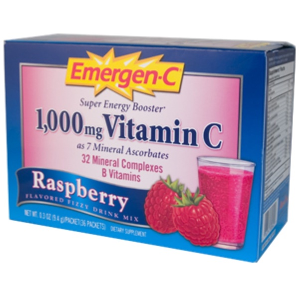 Emergen-C, Vitamin C, Raspberry Flavored Fizzy Drink Mix, 1000 mg, 36 Packets, 0.3 oz (9.4 g) Each (Discontinued Item)