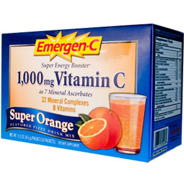 Emergen-C, Emergen-C, Super Orange, Flavored Fizzy Drink Mix, 36 Packets, 0.3 oz (8.6 g) Each (Discontinued Item)