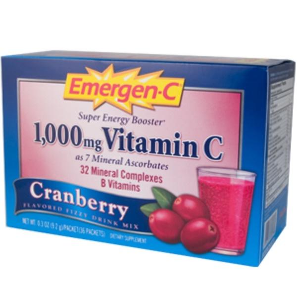 Emergen-C, Emergen-C, Cranberry, Flavored Fizzy Drink Mix, 36 Packets, 0.3 oz (9.2 g) Each (Discontinued Item)