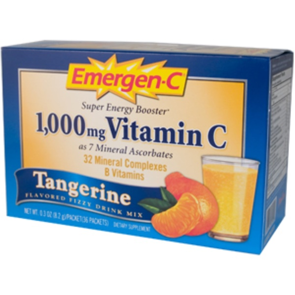 Emergen-C, Emergen-C, Tangerine, Flavored Fizzy Drink Mix, 36 Packets, 0.3 oz (8.2 g) Each (Discontinued Item)