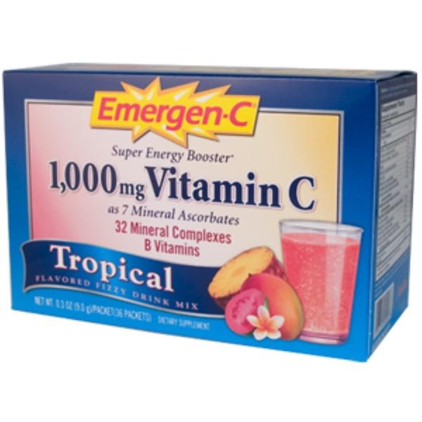Emergen-C, Emergen-C, Vitamin C, Tropical Flavor, 1000 mg,  0.3 oz (9 g), 36 Packets (Discontinued Item)