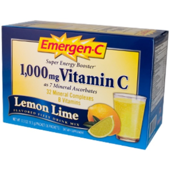 Emergen-C, Emergen-C, Vitamin C, Lemon Lime, Flavored Fizzy Drink Mix, 36 Packets, 0.3 oz (9.3 g) Each (Discontinued Item)
