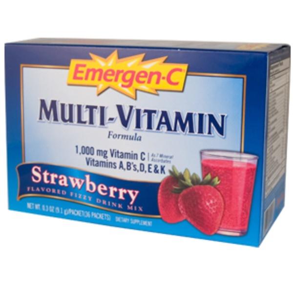 Emergen-C, Emer'gen-C, Multi-Vitamin, Strawberry, Flavored Fizzy Drink Mix, 36 Packets, 0.3 oz (9.1 g) Each (Discontinued Item)
