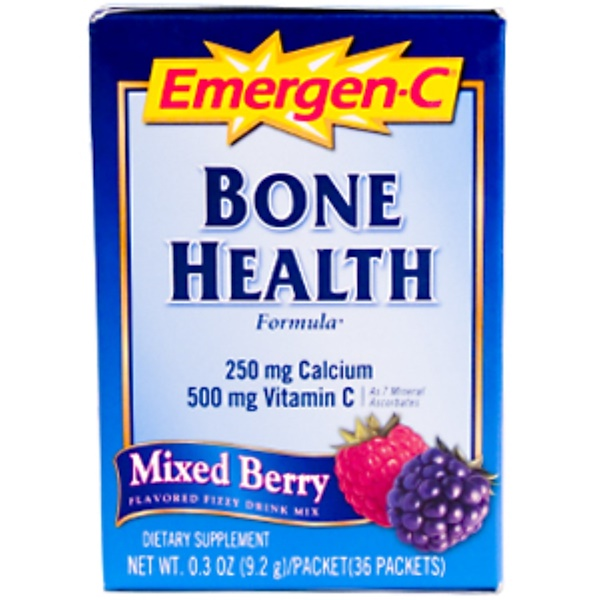 Emergen-C, Bone Health Formula, Mixed Berry, Flavored Fizzy Drink Mix, 36 Packets, 0.3 oz (9.2 g) Each (Discontinued Item)
