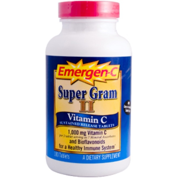 Emergen-C, Emergen-C, Super Gram II, Vitamin C, 1,000 mg, 180 Tablets (Discontinued Item)