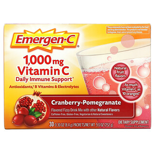Emergen-C, Vitamin C, Flavored Fizzy Drink Mix, Cranberry-Pomegranate, 1,000 mg, 30 Packets, 0.30 oz (8.4 g) Each