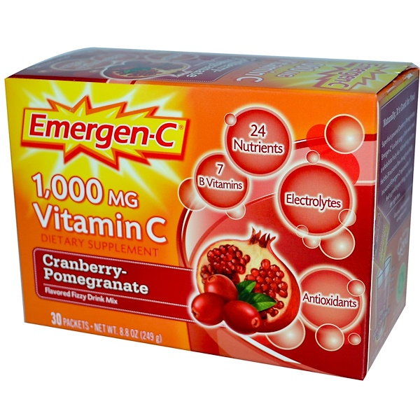 Emergen-C, 1,000 mg Vitamin C, Cranberry-Pomegranate, 30 Packets, 8.3 g Each