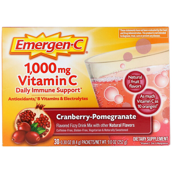 Emergen-C, Emergen-C, 1,000 mg Vitamin C, Cranberry-Pomegranate, 30 Packets, 8.4 g Each