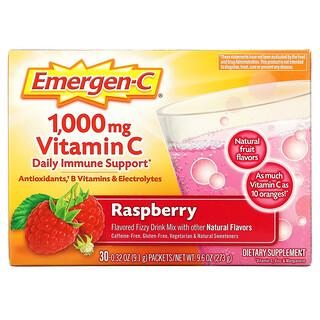Emergen-C, Vitamin C, Flavored Fizzy Drink Mix, Raspberry, 1,000 mg, 30 Packets, 0.32 oz (9.1 g) Each