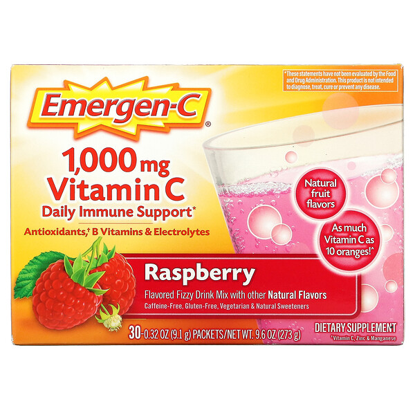 Vitamin C, Flavored Fizzy Drink Mix, Raspberry, 30 Packets, 0.32 oz (9.1 g) Each