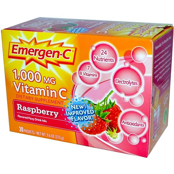 Emergen-C, 1000毫克維生素C,覆盆子,30包,每包9、1克