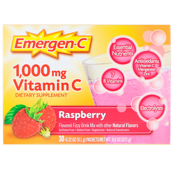 Emergen-C, 1,000 mg Vitamin C, Raspberry, 30 Packets, 0.32 oz (9.1 g) Each