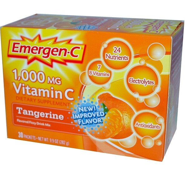 Emergen-C, Vitamin C, Flavored Fizzy Drink Mix, Tangerine, 1,000 mg, 30 Packets, 9.4 g Each