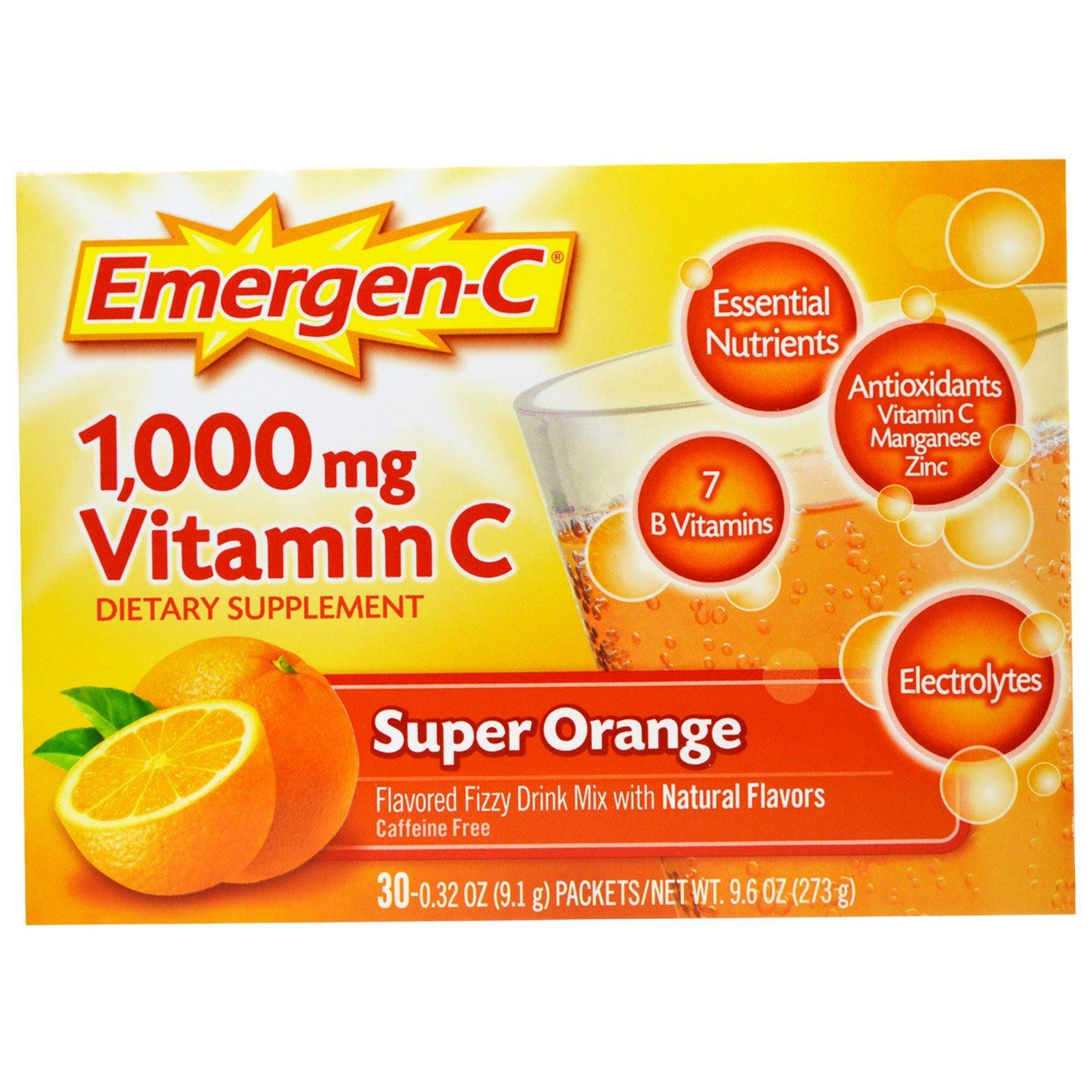 Emergen-C, 1000 мг витамина С, супер-апельсин, 30 пакетов, 0,32 унции (9,1 г) каждый