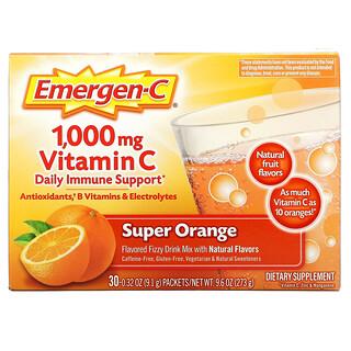 Emergen-C, Vitamin C, Flavored Fizzy Drink Mix, Super Orange, 1,000 mg, 30 Packets, 0.32 oz (9.1 g) Each