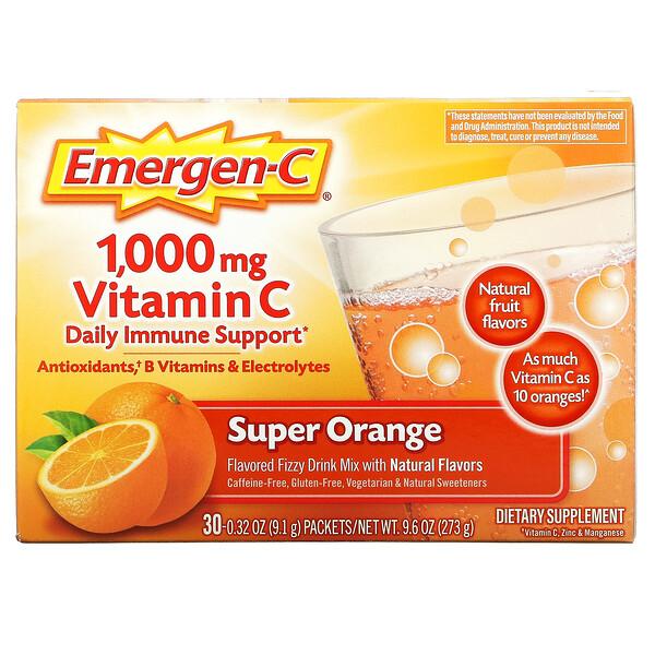 1,000mgビタミンC、スーパーオレンジ、30袋、各9.1g(0.32oz)