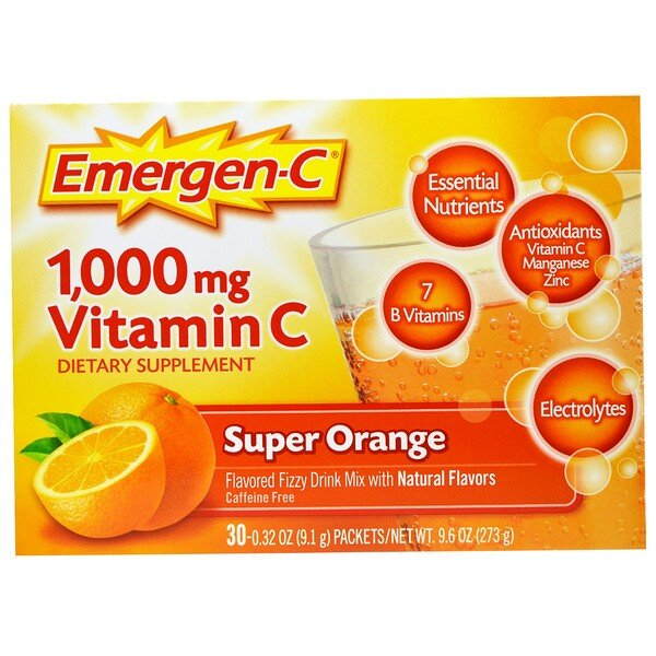 Emergen-C, 1000 mg de vitamina C, Supernaranja, 30 sobres, 9,1 g (0,32 oz)