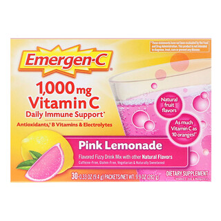Emergen-C, 1,000 mg Vitamin C Daily Immune Support, Pink Lemonade, 30 Packets, 0.33 oz (9.4 g) Each